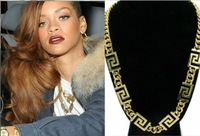 Min Order $10(Can Mix Item)2013 New Style Gold Tone Curb Chain Statement Necklace Rihanna Style