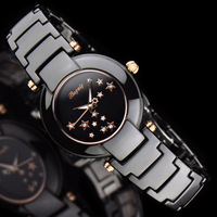 Quartz watch with a female fashion ceramic table stars dot women's rhinestone watch black ladies watch