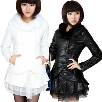 2012 winter women's slim fur collar PU wadded jacket outerwear medium-long cotton leather clothing cotton-padded jacket