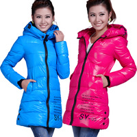 2013 cotton-padded jacket thin  down coat women's long design Women's long thickening Blue, black hooded cotton-padded clothes