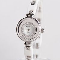 Ceramic table fashion lady rhinestone table watch female 6402 white