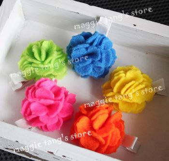 """2.5"""" Girl's Felt hair bows hair clips Baby wool felt Flowers hair bows handmade clip B018 mixture colors"""