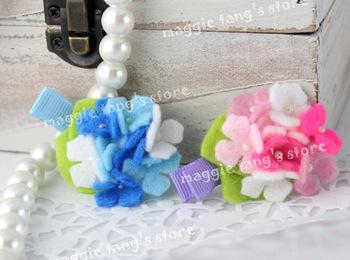 """2.5"""" Girl's Hydrangea Felt flowers Baby wool felt hair clips hair bows handmade B020 Mixture colors 100pieces / lot"""