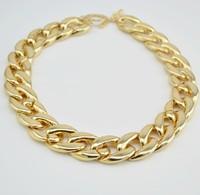 Free Shipping18'Choker New Shiny Cut Light Gold Plated Chunky Aluminium Curb Chain Necklace chorker necklace /chunky necklace