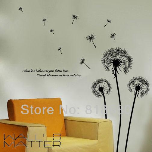 Free Shipping Home Decor Dandelion Vinyl Wall Art Stickers