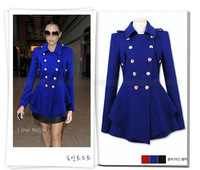 2013 winter woolen overcoat casacos women fashion trench woolen coat double breasted navy red blue outerwear