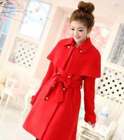 2013 Woman coat winter casacos coats women slim cashmere overcoat red medium-long cloak cape woolen outerwear female