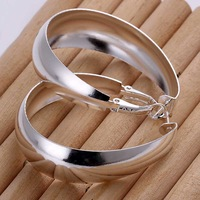 Factory price top quaility 925 sterling silver jewelry earring fashion slip egg hoop earrings free shipping SMTE018