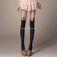 Free Shipping Sexy Girls Eiffel Tower Buildings Mock Knee High Hosiery Pantyhose Tattoo Tights 30D