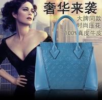 Fashion women's fashion genuine leather handbag  cowhide cross-body handbag embossed women's handbag