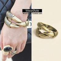 Free shipping Fashion Europe and America paw metal cuff bangle