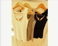 Latest Trend Women Metal Wings Sleeveless Solid Color  T-shirt