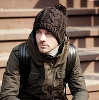 2013 Hot Sale Autumn and winter 8 twisted male fashion thermal knitted hat pineapple hat knitted hair ball  Free Shipping