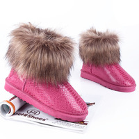 Promotion New arrival 2012 serpentine pattern fox fur snow boots 5854 autumn and winter boots ankle boots warm boots