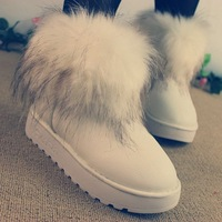 Promotion Fox fur snow boots female ankle boots waterproof cow muscle outsole snow boots fox fur women's shoes