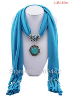 Wholesale 6pcs/lot Fashion Scarves With Pendant Resin And Turquoise Necklaces Autumn/Winter Scarf Jewelry GA0004 Free Shipping