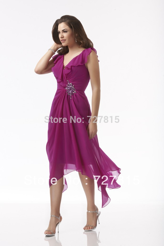 New-Groom-Mother-of-the-Bride-Dresses-Beach-Style-Tea-Length-Fushia