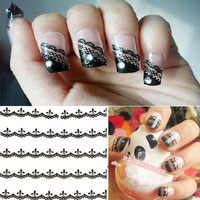 2014 New Arrival Hot Sales  Lace Decal Manicure Tip French Style nice 30 Sheet Nail Art Sticker Flowers  Free Shipping