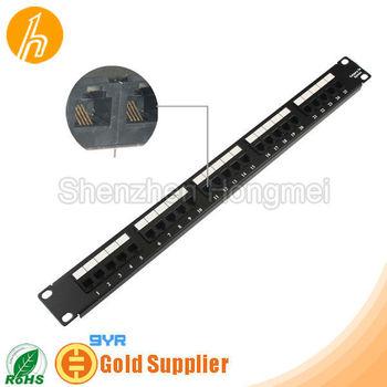 25 ports 1U Cat.5E 4C wholesale Telecom Patch Panel with module shield HM-PPS9