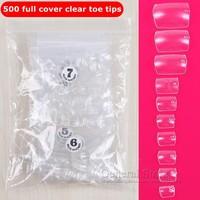 500pcs Clear Toe False Nails Feet Nail Art Tips DIY Decoration Free Shipping GT182