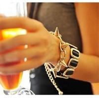 Vintage Fashion Women Lady Punk Rock Spike Rivet Studs Bracelet Bangle Chain