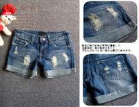 2013 new summer women turn up denim short, lady cotton tattered denim pants