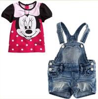 2013 Wholesale 2 pcs Minnie Denim baby girls clothes set(short t shirt+suspenders pants),5 sets/lot,Free Shipping