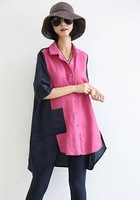 Ladies fashion turn-down collar half sleeve patchwork asymmetric single breasted long loose linen blouse free shipping A738-A24