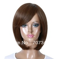 Beautiful Short Lace Straight Brown Color Women Wigs,Short Hair Front Lace Human,Simple and Convenient for Changing Hairstyle
