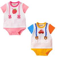 wholesale kids wear mk sweet short sleeve toddle romper baby romper infant romper,24sets/lot(1T-3T)2 designs free shipping