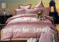 New Top Grade Luxurious 100% Tencel Jacquard Embroided 4pcs/set bedding Glod Pink-free shipping