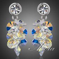 Gorgeous Platinum Plated Gradual Change Stellux Austrian Crystal Water Drop Drop Earrings FREE SHIPPING!(Azora TE0039)