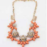 HOt sale the latest fashion shining orange flower necklace for women
