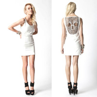 Brand Women Sexy skeletons Tank Dress nightclub TOPSHOP back lace dress 2013 new back Pierced skeletons print dress