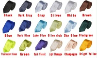 2013 New Men's Slim Skinny choker Plain Satin 100% Silk Tie Necktie business man,multi-color