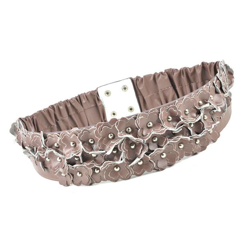 E elegant handmade rivet sheepskin women's flower wide elastic waist belt SF714(China (Mainland))