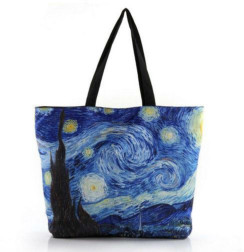 Van gogh one shoulder bag zipper HB009 printing environmental protection shopping bag Free Shipping(China (Mainland))