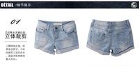 2013 new summer women old looking denim short, lady cotton denim pants