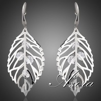 The Leaves Platinum Plated SWA ELEMENTS Austrian Crystal Drop Earrings FREE SHIPPING!(Azora TE0040)