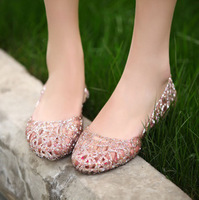 Bling flower cutout shoes flat heel crystal plastic sandals rain boots jelly shoes bird's-nest shoes women's shoes