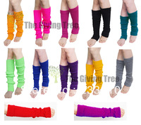 free shipping !5pairs Plain Knitted Leg Warmers Stocking Socks Finger less Long Gloves Neon Color