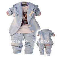 High Quality Girl's Autumn Clothing Set 2013 Fashion Denim Suit T shirt+turndown collar cowboy jacket+jeans 4 set lot ZY1035
