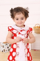 Beautiful baby girl dress Turndown collar girl dress with round nots 2013 new design Hot style