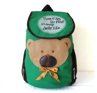 F55(green) Wholesales Leisure bag,knapsack,rucksack,lovely Bear on front,fabric,43x 38cm,5 different colors,Free shipping