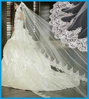 Noble Royal Elegant Ivory White Top quality European Luxury 3 meters Long aesthetic Lace bridal veil wedding accessories dress
