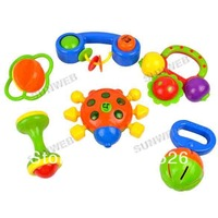 New Lovely Children's Baby Toys Plastic Colorful Hand Shake Bell Ring Baby Educational Toys 6pcs/set 6444