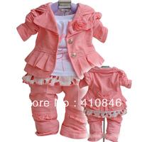 New fashion cotton coats shirt pant set 3 piece suit Girl's European style suit Pink 3 sets lot ZY1066
