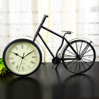 Fashion vintage home clock wrought iron bicycle decoration clock personalized rustic clock