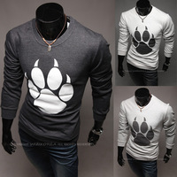 2013 Unique Bear's Paw Print Men's long-sleeve Round Neck T-shirt