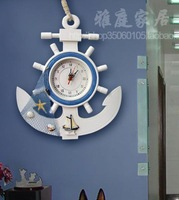 Blue ocean wooden rudder anchor clocks clock table home decoration wall